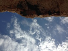 Looking up to the sky under the overhang